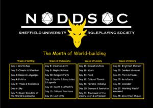 The Month of Worldbuilding Schedule